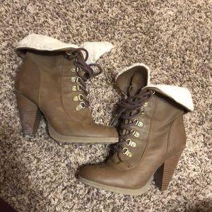 Elle Shoes - Light brown, lace up heels.